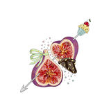 Figs in love with cupcake. Hand drawn illustration from `Fruit Love & Sweet` collection. White background Royalty Free Stock Photos
