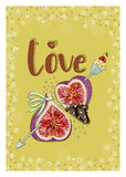 Figs in love with cupcake. Hand drawn postcard from `Fruit Love & Sweet` collection. A6 format of postcard Stock Image