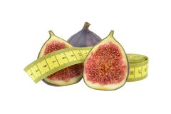 Figs with measuring tape Stock Photo