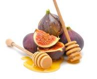Figs med honung royaltyfria bilder