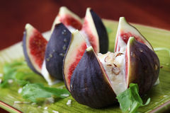 Figs with nut and honey cheese Stock Photo