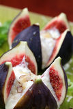 Figs with nut and honey cheese Royalty Free Stock Image