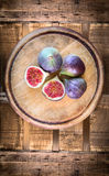 Figs on old wooden, top view Royalty Free Stock Photography