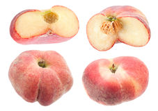 Figs peach fruit collection on white Stock Photos