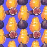 Figs and pear vector seamless pattern on blue background. Figs and pear watercolor hand drawn seamless vector pattern in trendy colors of year 2018 Royalty Free Stock Photography