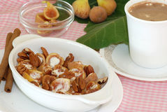 Figs and Pecans in Sour Cream Stock Photo