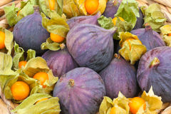 Figs and physalis Royalty Free Stock Images
