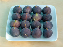 Figs on Plate. Square white ceramic plate holds four rows of fresh figs  on wooden background Royalty Free Stock Images