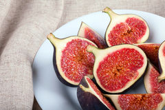 figs plate white Royaltyfri Bild