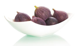 Figs on plate  on white background. Royalty Free Stock Photography