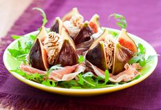 Figs with prosciutto,cheese and balsamic vinegar Stock Photo