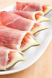 Figs in Prosciutto Italian cured ham Royalty Free Stock Images