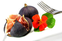 Figs with Serrano ham Stock Images