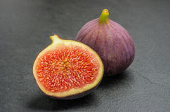 Figs on slate plate Royalty Free Stock Images