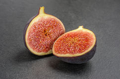 Figs on slate plate Stock Photo