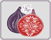 Figs. Stylized figs with a patterned heart Stock Photography