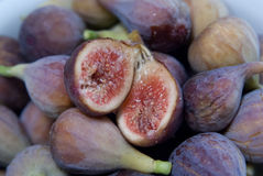 Figs up close. Closeup of figs with one cut open to show inside Royalty Free Stock Photo