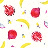 Figs. Tropical pattern of exotic fruit. Watercolor Seamless background. Figs. Watercolor hand painted illustration with exotic fruits. Seamless background Royalty Free Stock Image