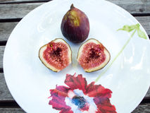 Figs on White Plate Stock Photo