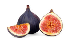 Figs. Whole and cut into slices. Royalty Free Stock Photography