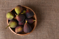 Figs in Wood Bowl Stock Images