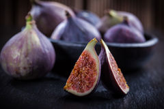 Figs on wooden table Royalty Free Stock Photo