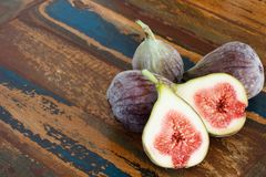 Figs on a wooden table Stock Photo