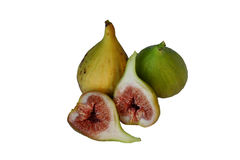Figs. Yellow and green figs pn white background Stock Photography