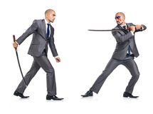 figthing与剑的两个人 库存图片
