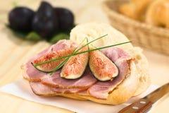Figue et Ham Sandwich Images libres de droits