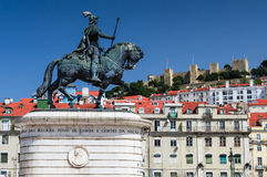 Figueira Square and Dom Joao I statue, Lisbon Stock Images