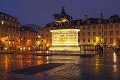 Figueira Square at night in Lisbon, Portugal, Europe Royalty Free Stock Image
