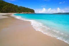 Figueiras nudist beach in Islas Cies island of Vigo. In Spain stock images