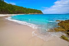 Figueiras nudist beach in Islas Cies island of Vigo. In Spain stock photos
