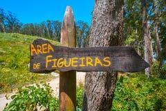 Figueiras nudist beach road sign in Islas Cies island. Of Vigo Spain stock photos