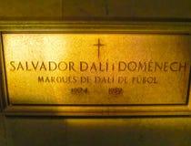 Figueres, Spanien - 15. September 2015: Verschalen Sie auf der Wand im Raum, in dem Dali bei Dali Museum in Figueres begraben wur Lizenzfreies Stockbild