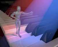 Figur, character, show host presenting on a piano keyboard, clavier, lit in red and blue spotlights. 3d rendering Stock Images