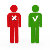 Figur red green. 3d man figure red no green yes Royalty Free Stock Photography