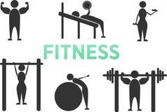 Figura ícones da vara de treinamento da aptidão do exercício do exercício do corpo do pictograma Homem e mulher ilustração stock
