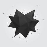 Figura abstrata geométrica poligonal preta da forma Baixa estrela abstrata poli da forma 3d da geometria ilustração royalty free