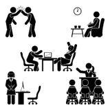 Figura actitudes del palillo de la oficina fijadas Ayuda del lugar de trabajo de las finanzas del negocio Trabajo, sentándose, ha ilustración del vector