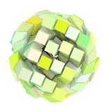 figura astratta della sfera del cubo 3d nel colore giallo verde Immagini Stock