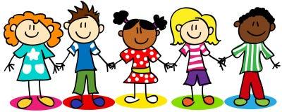 Figura bambini del bastone di diversità etnica illustrazione vettoriale