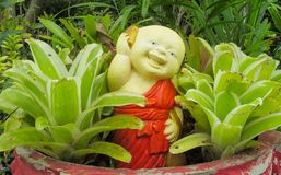 Figura benvenuta divertente piacevole in giardino tropicale asiatico Immagine Stock