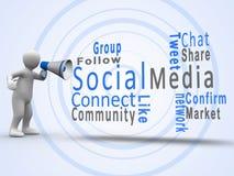 Figura bianca che rivela i termini sociali di media con un megafono Immagini Stock Libere da Diritti