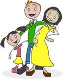 Figura Biracial familia del palillo fotos de archivo