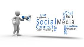 Figura blanca que grita en un megáfono para revelar medios términos sociales stock de ilustración