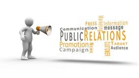 Figura blanca que grita en un megáfono para revelar términos de la relación pública stock de ilustración