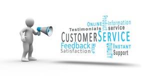 Figura branca que grita em um megafone para revelar termos do serviço ao cliente ilustração royalty free