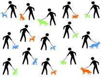 Figura cães de passeio Fotografia de Stock Royalty Free